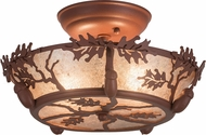 Meyda Tiffany 188635 Oak Leaf & Acorn Rustic Rust / Silver Mica Flush Mount Lighting