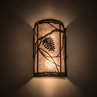 Meyda Tiffany 188669 Whispering Pines Silver Mica Lighting Wall Sconce