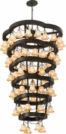 Meyda Tiffany 188855 Cretella Contemporary Beige Glass Solar Black Chandelier Lamp