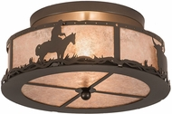 Meyda Tiffany 189080 Cowboy & Steer Rustic Bronze Flush Mount Light Fixture