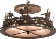 Meyda Tiffany 189085 Cowboy & Steer Country Bronze Flush Mount Lighting Fixture