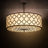 Meyda Tiffany 189150 Cilindro Deco Provostone Idalight Wrought Iron Drum Hanging Pendant Lighting