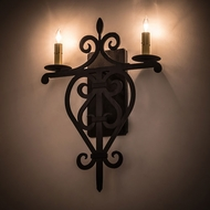 Meyda Tiffany 189161 Fleur De Lys Wrought Iron Black Wall Sconce Lighting