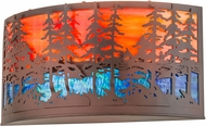 Meyda Tiffany 189494 Tall Pines Rusted Wrought Iron Lighting Wall Sconce