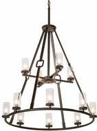 Meyda Tiffany 189559 Loxley Hugo Contemporary Clear Seeded Glass Oil Rubbed Bronze Hanging Chandelier