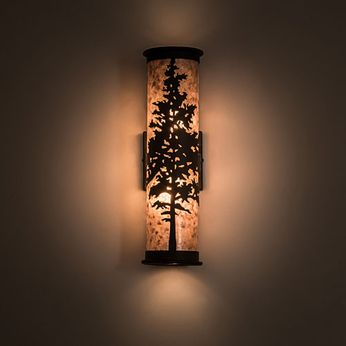 Meyda Tiffany 190092 Tamarack Country Silver Mica Oil Rubbed Bronze Wall Sconce Lighting