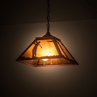 Meyda Tiffany 190328 Golf Rustic Amber Mica Rust Pendant Light