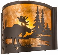 Meyda Tiffany 190524 Moose at Lake Country Timeless Bronze / Amber Mica Wall Light Sconce