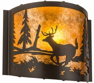 Meyda Tiffany 190527 Deer at Lake Rustic Timeless Bronze / Amber Mica Wall Sconce Light