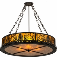 Meyda Tiffany 191371 Mountain Pine Rustic Black / Amber Mica Drum Pendant Light Fixture