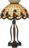 Meyda Tiffany 19138 Roseborder Tiffany Beige Burgundy Pink Table Light