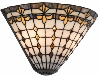 Meyda Tiffany 191542 Fleur-de-Lite Tiffany Beige Ha Green / Blue Amber Lamp Sconce