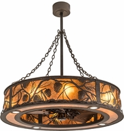 Meyda Tiffany 191879 Whispering Pines Rustic Oil Rubbed Bronze / Amber Mica Chandel-Air Ceiling Fan