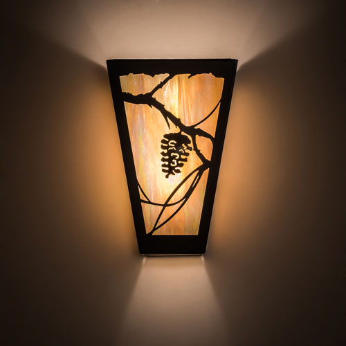 Meyda Tiffany 192001 Whispering Pines Rustic Bai Timeless Bronze Wall Sconce Lighting