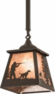 Meyda Tiffany 192004 Quail Hunter W/Dog Silver Mica Timeless Bronze Mini Pendant Hanging Light