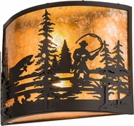 Meyda Tiffany 192732 Fly Fishing Creek Country Amber Mica Oil Rubbed Bronze Wall Lighting Fixture