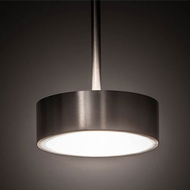 Meyda Tiffany 193256 Button Contemporary Satin Nickel LED Drum Hanging Light Fixture