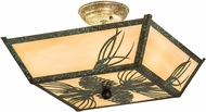 Meyda Tiffany 193440 Mountain Pine Rustic Beige Tarnished Copper Flush Mount Lighting