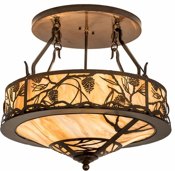 Meyda Tiffany 193442 Whispering Pines Country Travetine Idalight Old Copper Pot Overhead Lighting