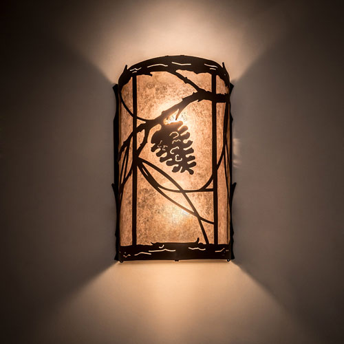 Meyda Tiffany 193755 Whispering Pines Rustic Silver Mica Oil Rubbed Bronze Sconce Lighting Mey 193755