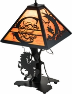 Meyda Tiffany 194148 Personalized Headless Horseman Rustic Tangarine Acrylic Textured Black Table Lighting