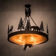 Meyda Tiffany 194328 Wildlife at Dusk Rustic Textured Black Pendant Light