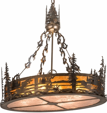 Meyda Tiffany 194615 Fly Fisherman Country Amber Mica Silver Dark Burnished Antique Copper Drum Drop Lighting Fixture