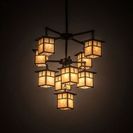 Meyda Tiffany 196321 Hyde Park Craftsman Craftsman Brown Lighting Chandelier