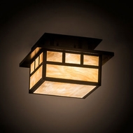 Meyda Tiffany 196658 Hyde Park Craftsman Craftsman Brown Flush Ceiling Light Fixture