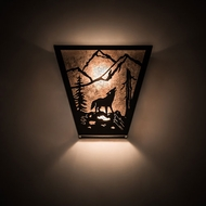 Meyda Tiffany 196969 Wolf on the Loose Wrought Iron Wall Lighting Sconce
