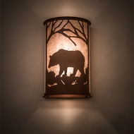 Meyda Tiffany 197064 Bear at Dawn Rustic Antique Copper Wall Mounted Lamp