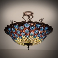 Meyda Tiffany 197238 Peacock Feather Tiffany Flush Mount Lighting Fixture