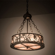 Meyda Tiffany 197917 Whispering Pines Country Bronze Drum Pendant Light Fixture