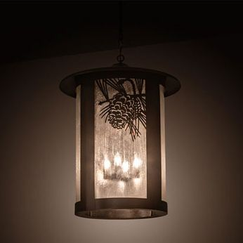 Meyda Tiffany 198603 Fulton Country Craftsman Brown Hanging Light Fixture