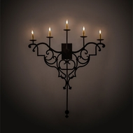 Meyda Tiffany 198848 Fleur De Lys Traditional Distressed Costello Black LED Wall Light Sconce