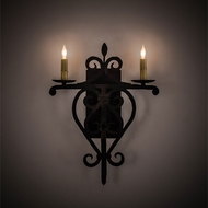 Meyda Tiffany 198850 Fleur de Lys Traditional Distressed Costello Black LED Wall Sconce Light