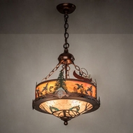 Meyda Tiffany 199562 Wildlife Rustic Copper Vein Drum Drop Ceiling Lighting