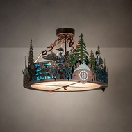 Meyda Tiffany 199563 Loon Country Copper Vein Flush Ceiling Light Fixture