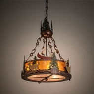 Meyda Tiffany 199567 Deer at Dusk Rustic Copper Vein Drum Ceiling Light Pendant