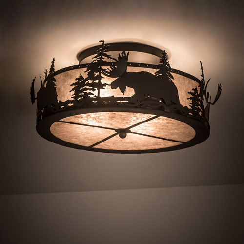 Meyda Tiffany 200517 Moose At Dusk Country Oil Rubbed Bronze Ceiling Light Fixture Mey