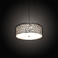 Meyda Tiffany 200845 Parmecia Modern Textured Black LED Drum Hanging Pendant Lighting