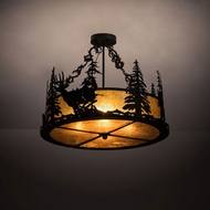Meyda Tiffany 200864 Wildlife at Dusk Rustic Textured Black Drum Hanging Pendant Light
