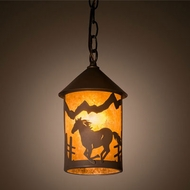 Meyda Tiffany 201028 Running Horse Rustic Timeless Bronze Mini Hanging Light Fixture