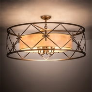 Meyda Tiffany 201258 Penelope Antique Copper Drum Ceiling Pendant Light