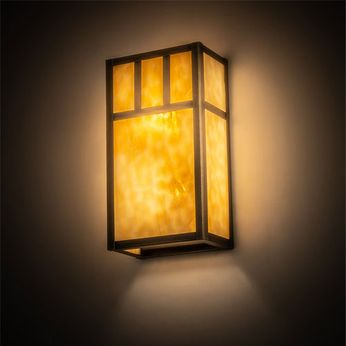 Meyda Tiffany 201300 Hyde Park Craftsman Antique Brass Indoor / Outdoor Wall Sconce Lighting