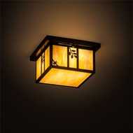 Meyda Tiffany 201308 Hyde Park Mission Craftsman Brown Interior / Exterior Flush Mount Lighting Fixture