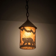 Meyda Tiffany 202429 Lone Bear Rustic Rust Mini Pendant Lamp