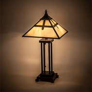 Meyda Tiffany 204495 Cross Mission Tiffany Mahogany Bronze Lighting Table Lamp