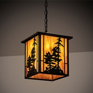 Meyda Tiffany 204739 Tall Pines Oil Rubbed Bronze Exterior Hanging Pendant Light