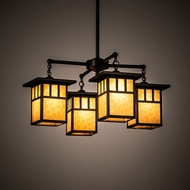 Meyda Tiffany 204749 Hyde Park Craftsman Craftsman Brown Hanging Chandelier